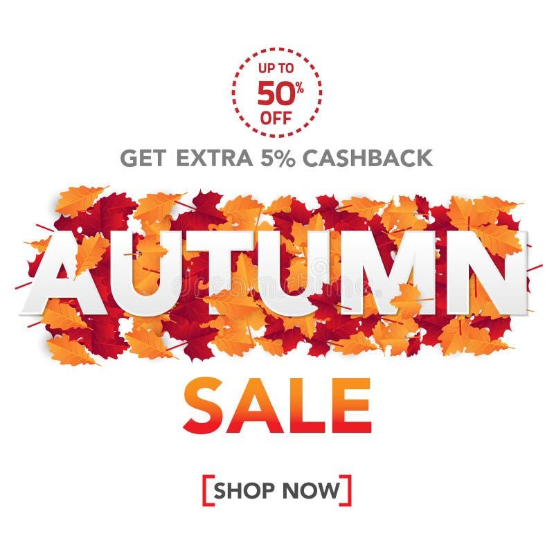 De bannermalplaatje van de de herfstverkoop met bladeren, dalingsbladeren voor het winkelen verkoop Bannerontwerp Affiche, kaart, royalty-vrije stock afbeeldingen