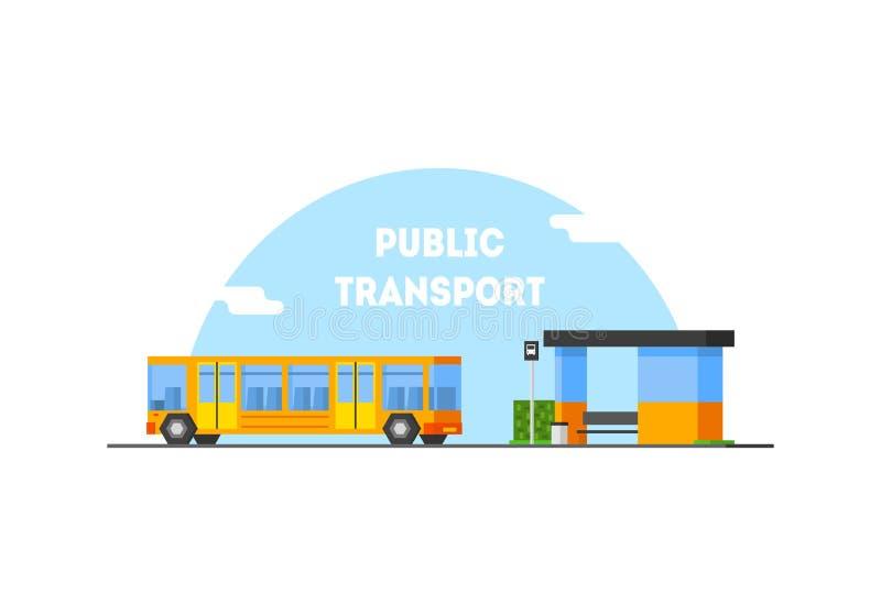 De Bannermalplaatje van het stads Openbare Vervoer, Bushalte en Bewegende Bus Vectorillustratie royalty-vrije illustratie