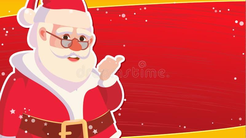 De Bannermalplaatje van de Kerstmisverkoop met Klassieke Kerstmis Santa Claus Vector De Verkoopbanner van de kortingsspeciale aan stock illustratie