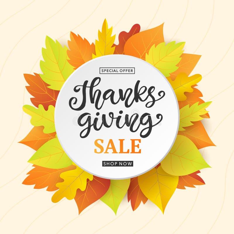 De bannermalplaatje van de thanksgiving dayverkoop met het kleurrijke van de dalingsbladeren en inkt van letters voorzien royalty-vrije illustratie
