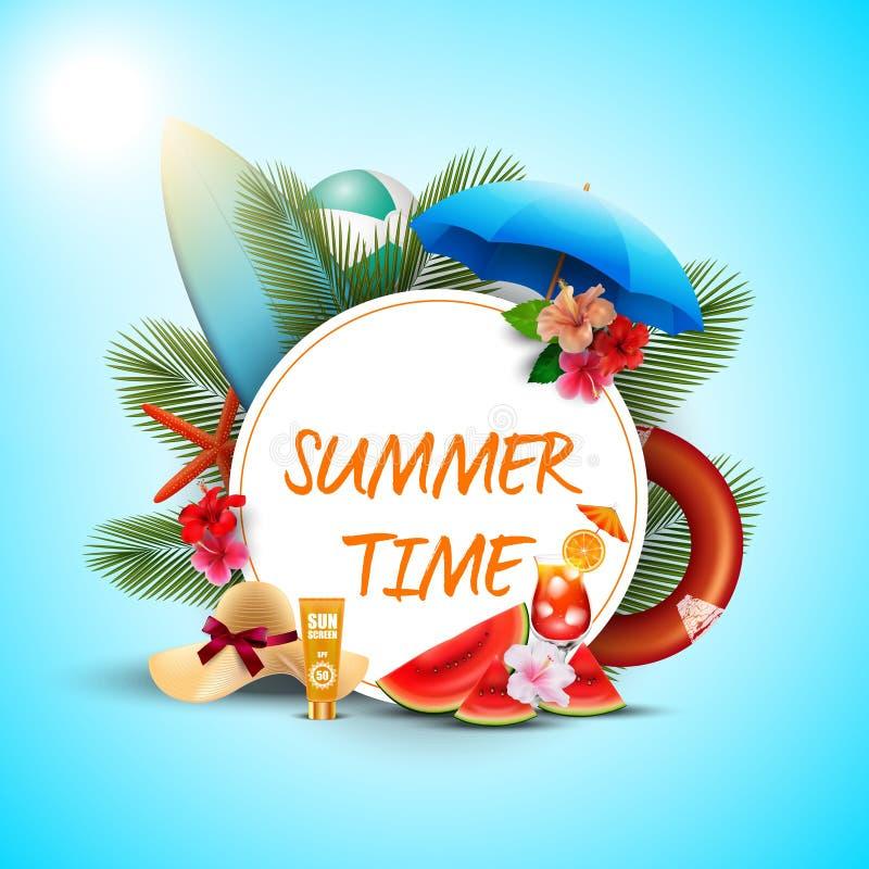De bannerontwerp van de de zomertijd met witte ronde en strandelementen royalty-vrije illustratie