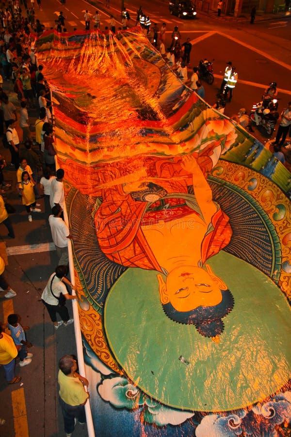 De bannerparade van Boedha bij Optocht Wesak royalty-vrije stock afbeelding
