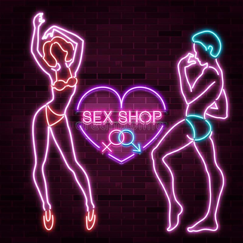 De bannerreclame van de geslachtswinkel met neonsilhouet van sexy man en vrouwencijfers, mooie silhouetten, vectorillustratie royalty-vrije illustratie