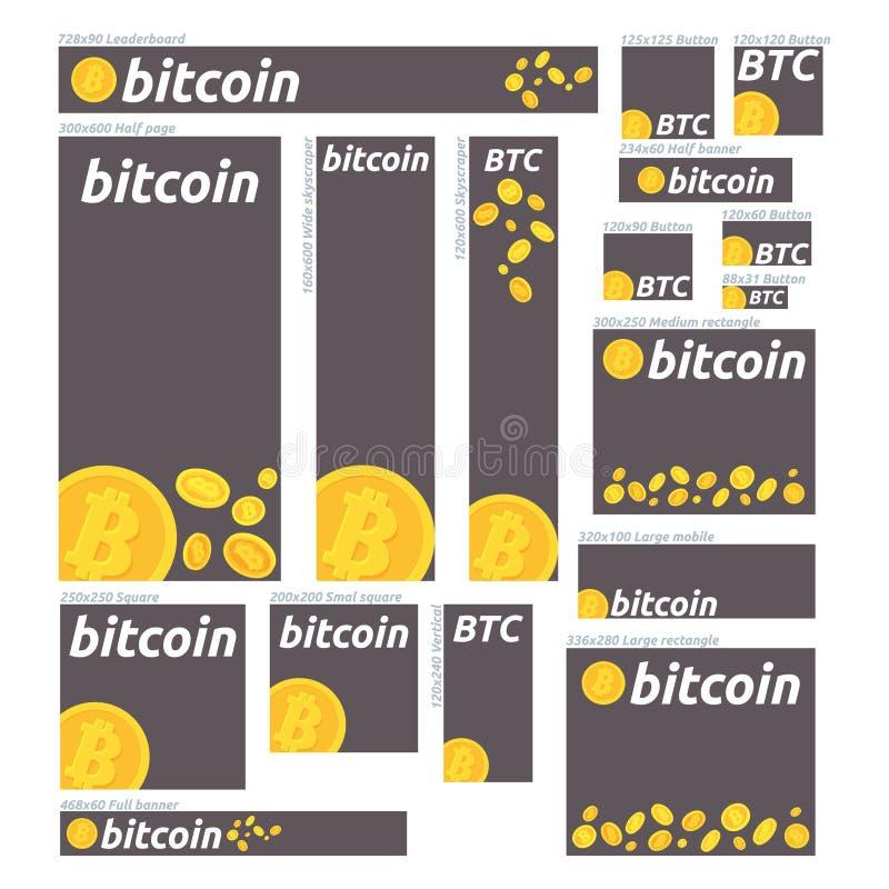 De bannerreeks van de Bitcoin digitale munt Banners voor bitcoin, effectenbeurs en zaken, het investeren, die geld, winst, crypt  stock foto