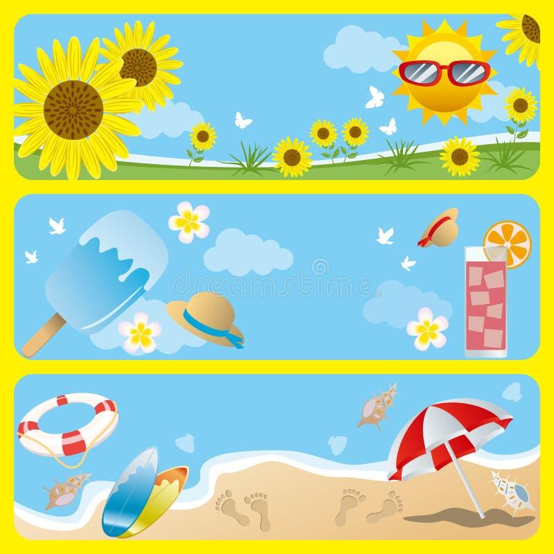 De bannerreeks van de zomer stock illustratie