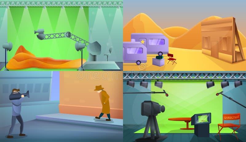 De bannerreeks van de filmproductie, beeldverhaalstijl stock illustratie