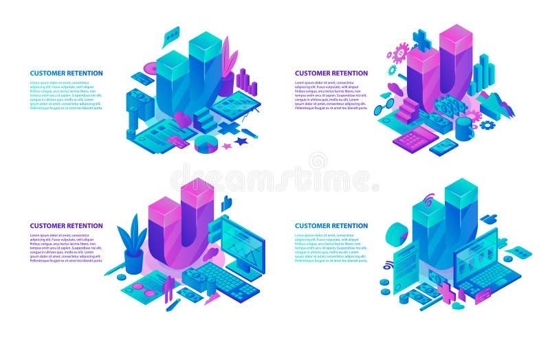 De bannerreeks van het klantenbehoud, isometrische stijl vector illustratie