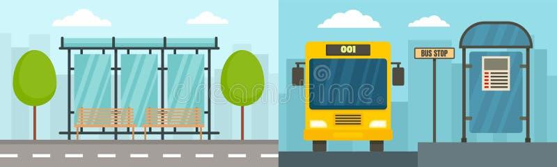 De bannerreeks van de stadsbushalte, vlakke stijl royalty-vrije illustratie