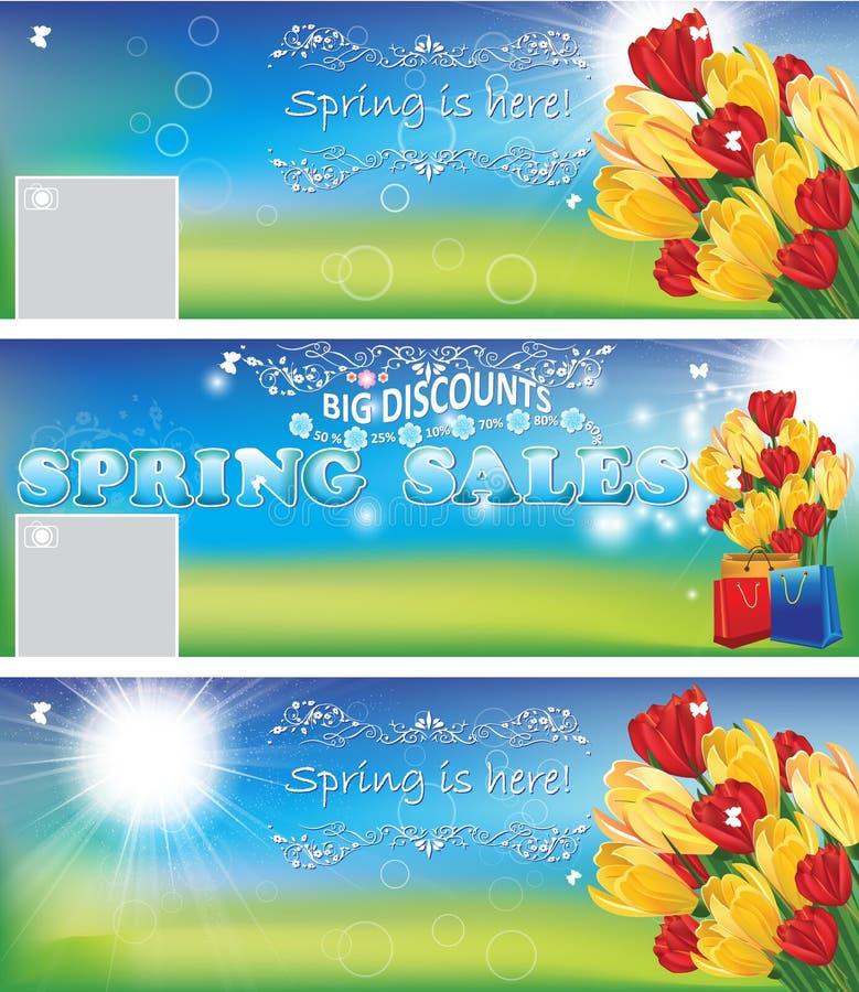 De banners/de achtergronden van de de lenteverkoop vector illustratie