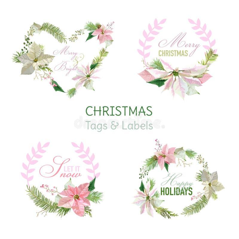 De Banners en de Markeringen van de Kerstmisbloem stock illustratie