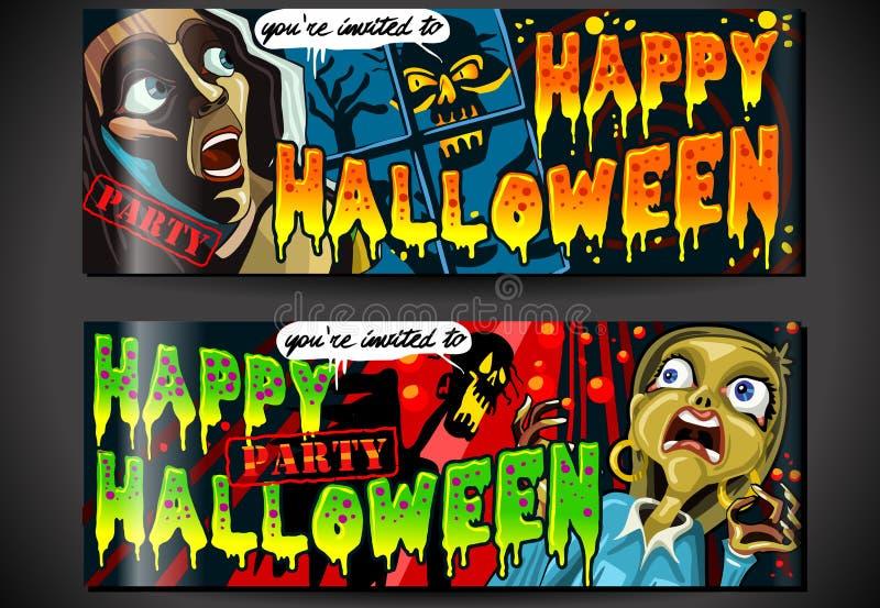 De banners nodigen voor Halloween-Partij uit vector illustratie