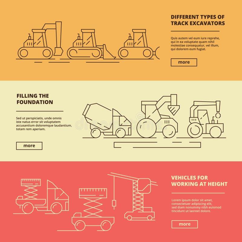 De banners van bouwmachines Van de de vrachtwagenbulldozer van het bouwnijverheidszware voertuig opheffende de kraan vectorontwer vector illustratie