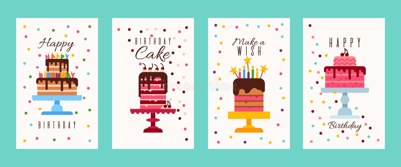 De banners van de cakeverjaardag of de kaarten vectorillustratie van de verjaardagsuitnodiging Gelukkige Verjaardag Maak een wens royalty-vrije illustratie