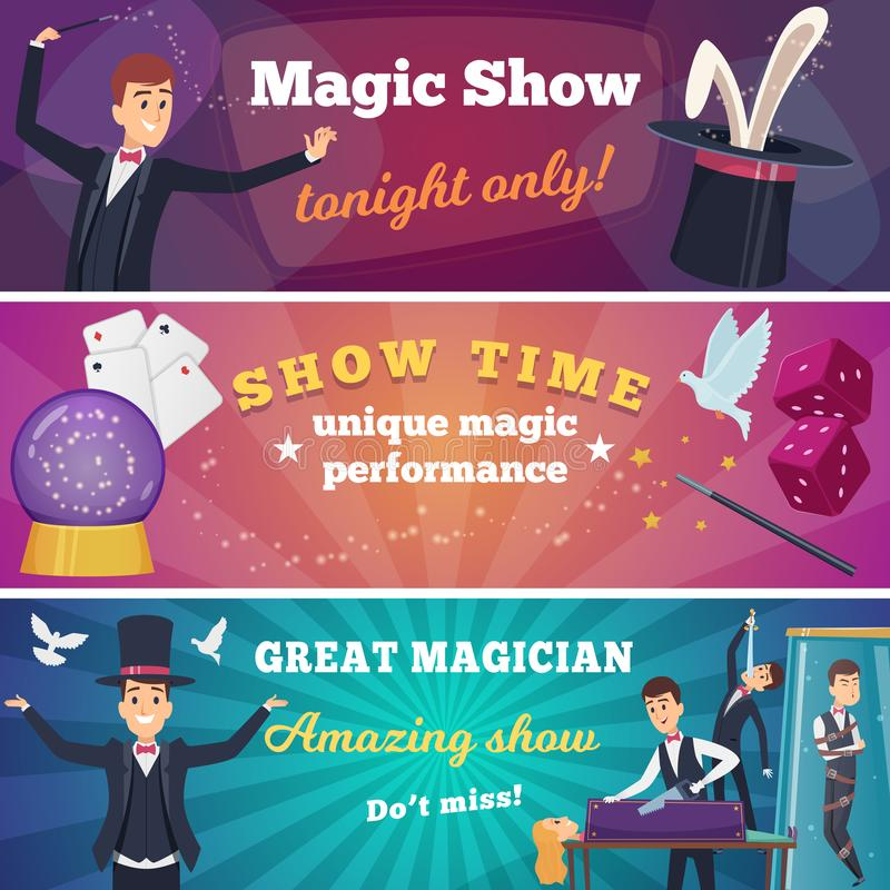 De banners van de circuspartij Magisch toon met van het circustrucs van tovenaarskarakters vector de beeldverhalenachtergrond vector illustratie