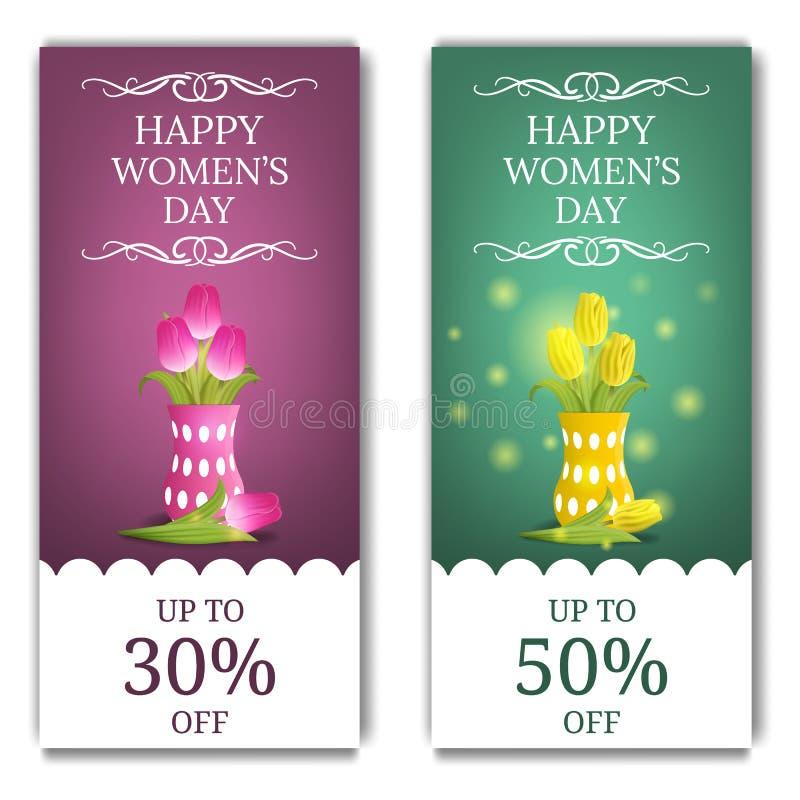 De Banners van de de Dagkorting van vrouwen met Roze en Gele Tulpen in Vaas Boeket van kleurrijke tulpen Vector illustratie voor  vector illustratie