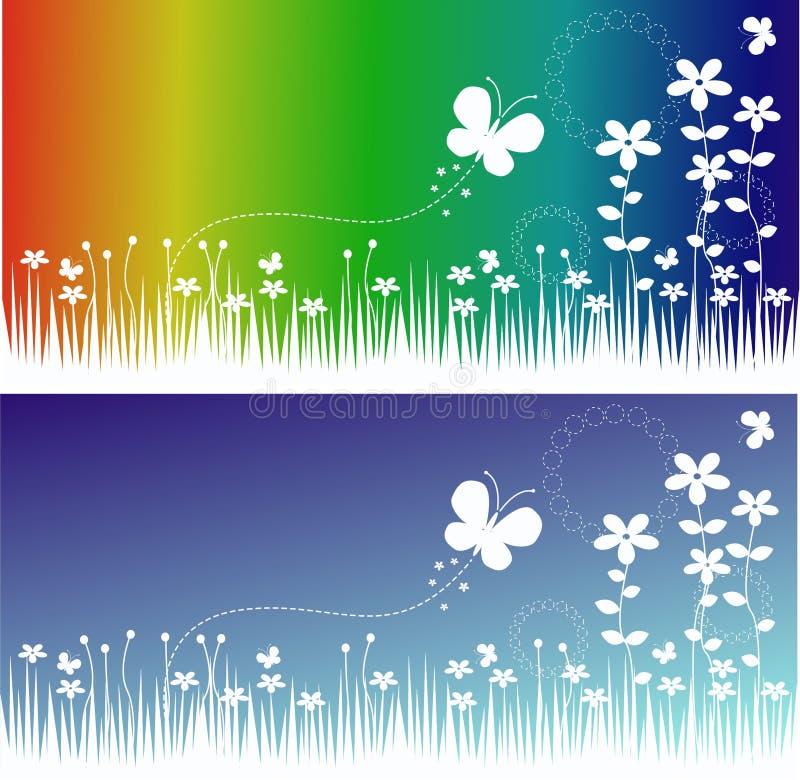 De banners van de bloem en van de vlinder stock illustratie