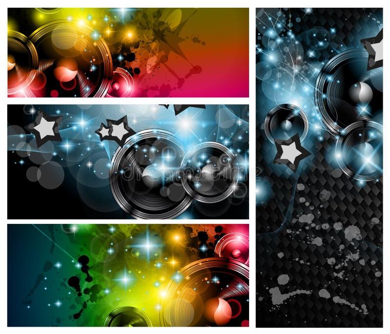 De banners van de Club van de muziek die voor de vliegers van de discodans worden geplaatst stock illustratie