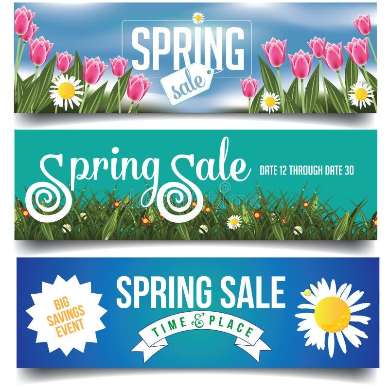 De banners van de de lenteverkoop met tulpen en madeliefjes royalty-vrije illustratie