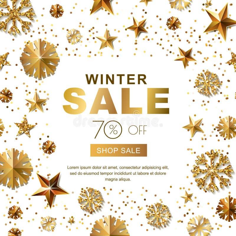 De banners van de de winterverkoop met 3d gouden sterren en sneeuwvlokken De vectoraffiche van de de wintervakantie, gouden witte vector illustratie