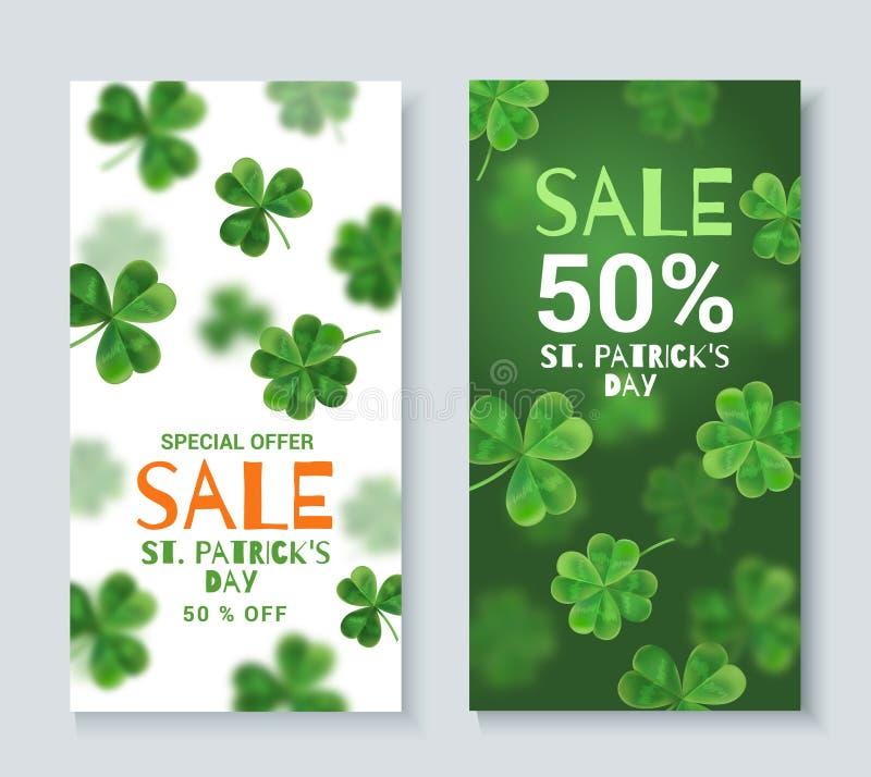 De banners van de inzamelingskorting op St Patrick Dag stock illustratie