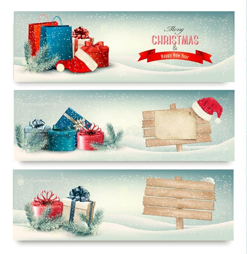De banners van de Kerstmiswinter met stelt voor. stock illustratie
