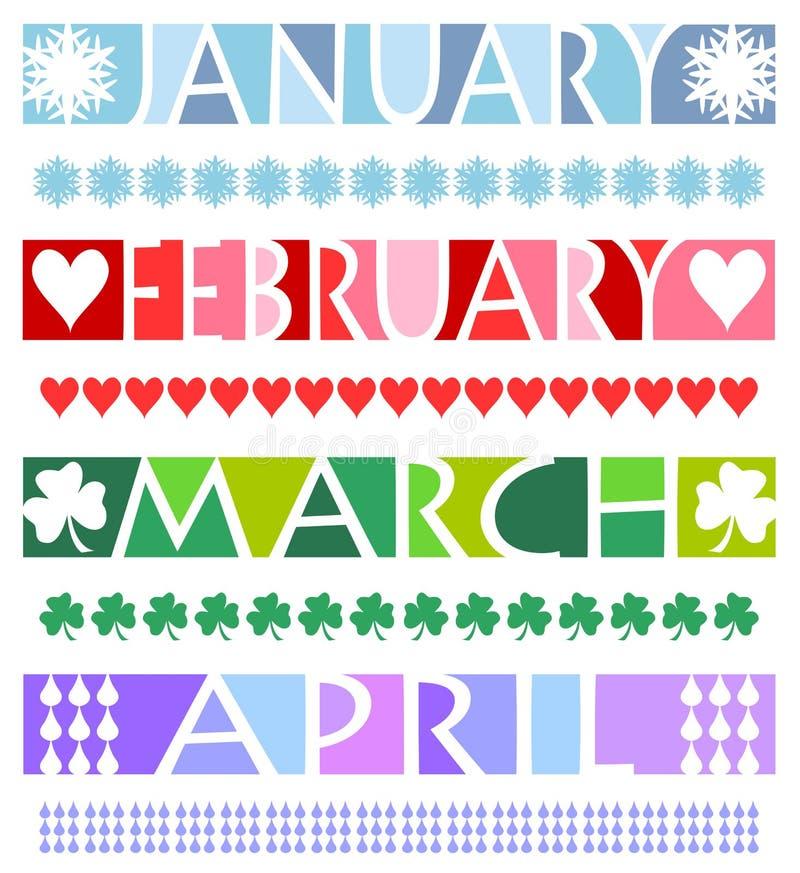 De Banners van de maand en Grenzen/eps stock illustratie