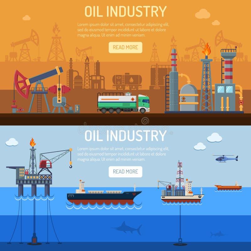 De Banners van de olieindustrie stock illustratie