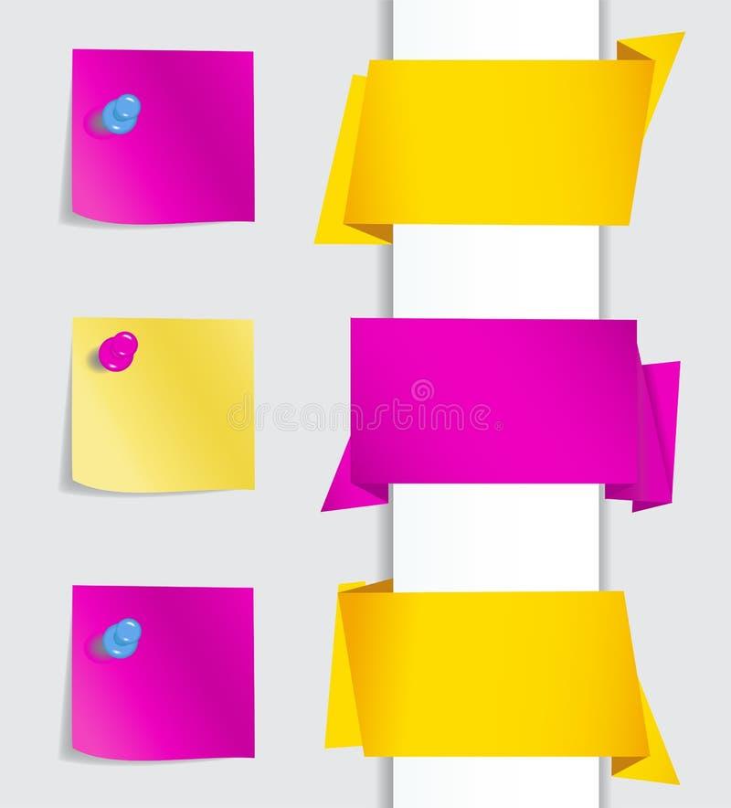 De banners van de origami met punaisen royalty-vrije illustratie
