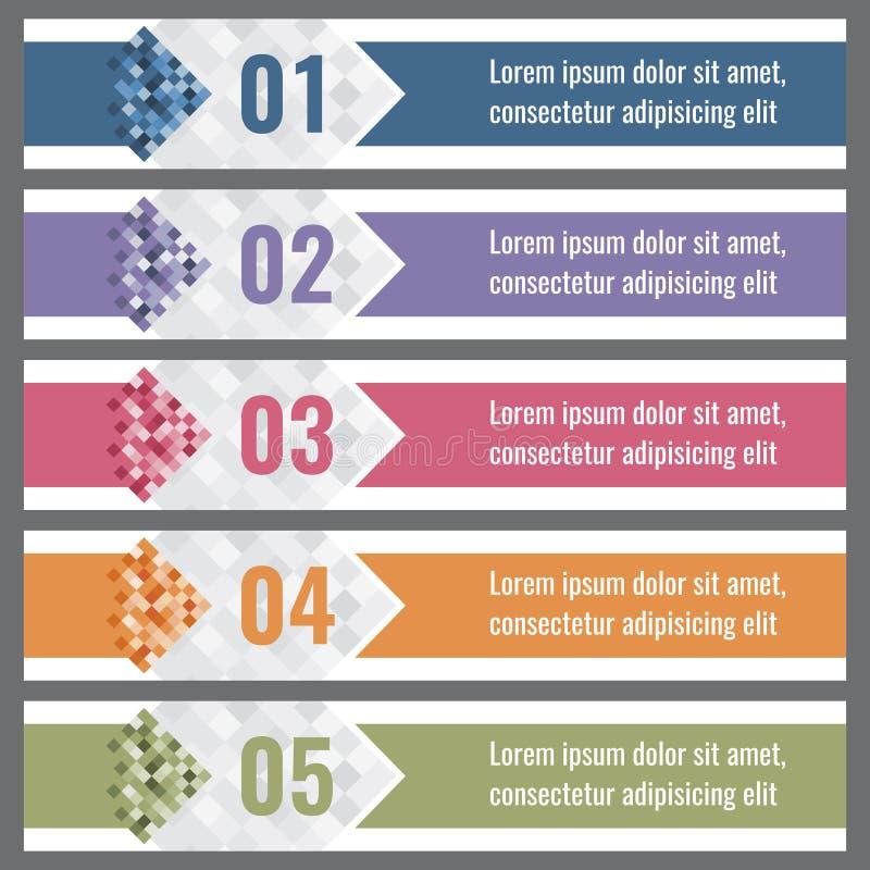 De banners van de pixelgradiënt met opties Vectorinfographicselementen royalty-vrije illustratie