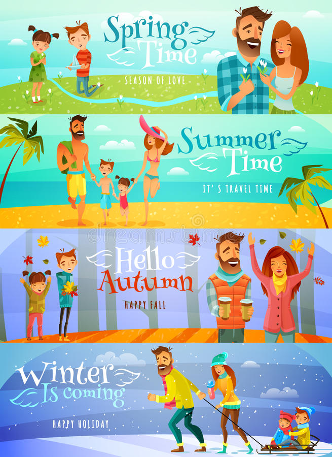 De Banners van de seizoenfamilie vector illustratie