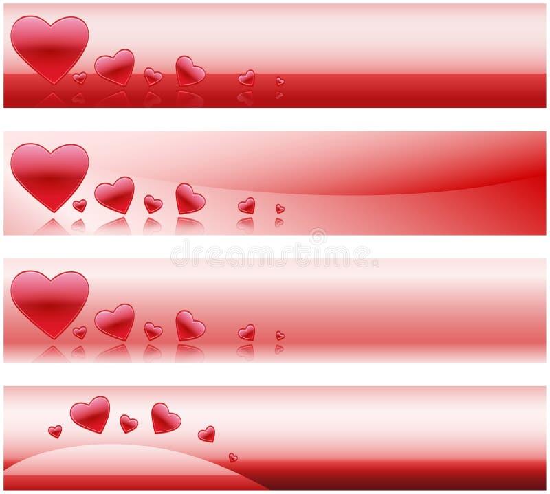 De Banners van de valentijnskaart stock illustratie