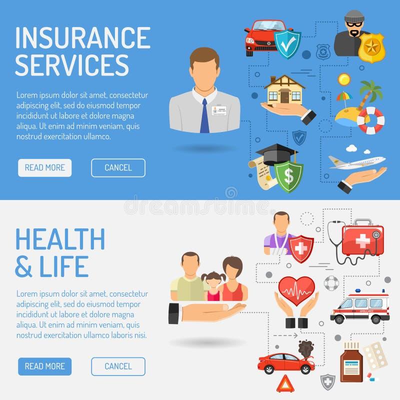 De Banners van de verzekeringsdiensten royalty-vrije illustratie