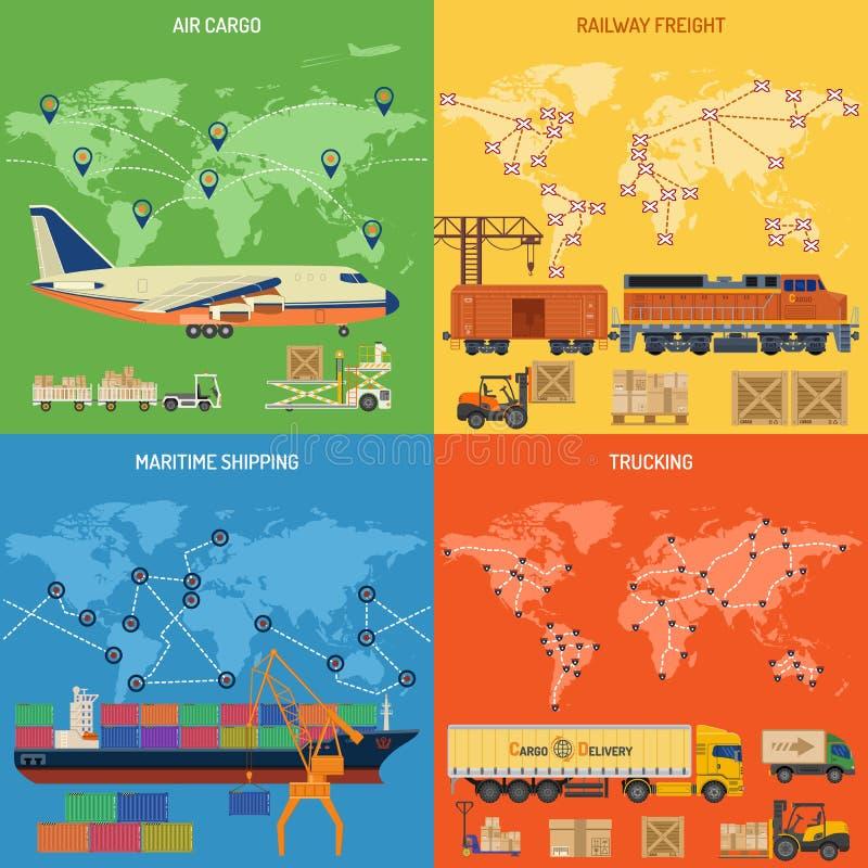 De Banners van de vrachtvervoerindustrie stock illustratie