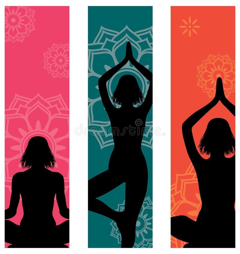De banners van de yoga royalty-vrije illustratie