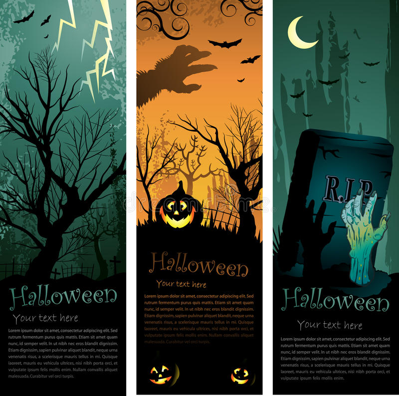 De banners van Halloween vector illustratie