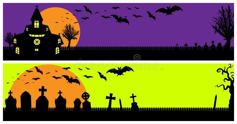 De Banners van Halloween stock illustratie