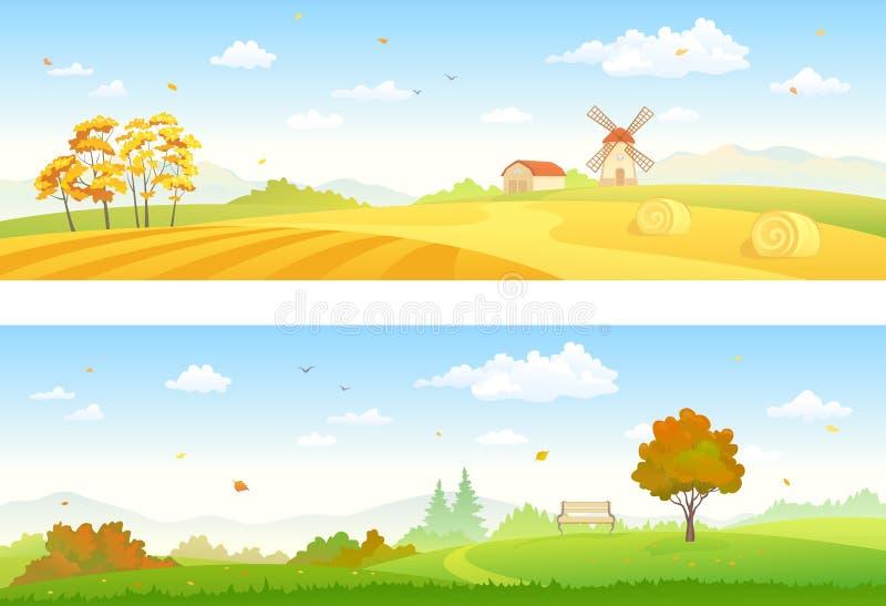 De banners van het de herfstplatteland stock illustratie