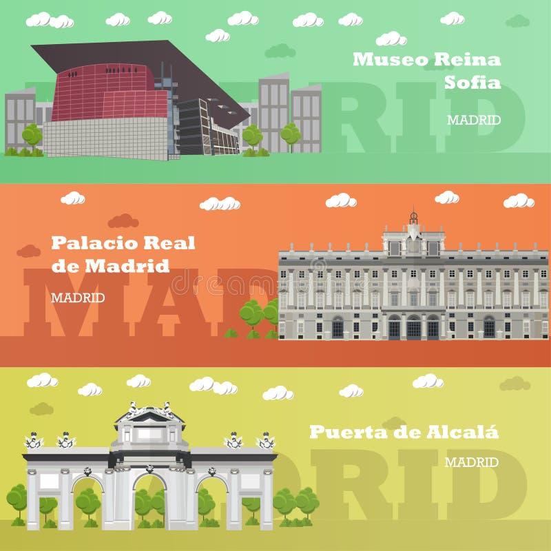 De banners van het de toeristenoriëntatiepunt van Madrid Vectorillustratie met de beroemde gebouwen van Spanje stock illustratie