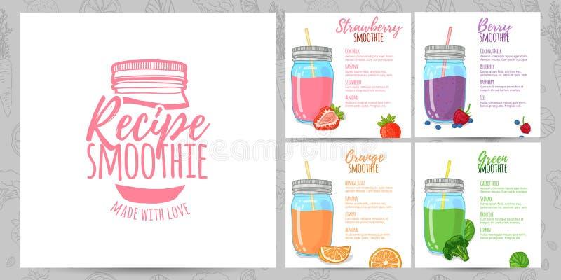 De banners van het malplaatjeontwerp, brochures, menu's, vliegers smoothie recepten Ontwerpmenu met recepten en ingrediënten voor stock illustratie