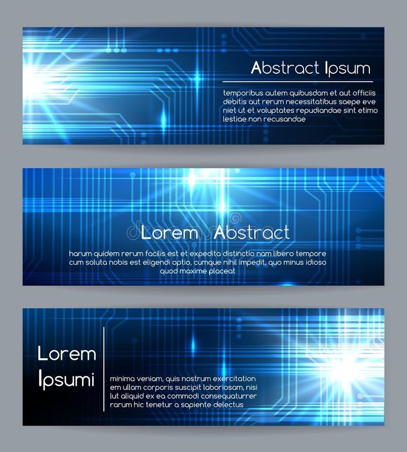 De banners van het technologieweb of de abstracte van de bannermalplaatjes van websitetechnologie digitale en medische vectorillu vector illustratie