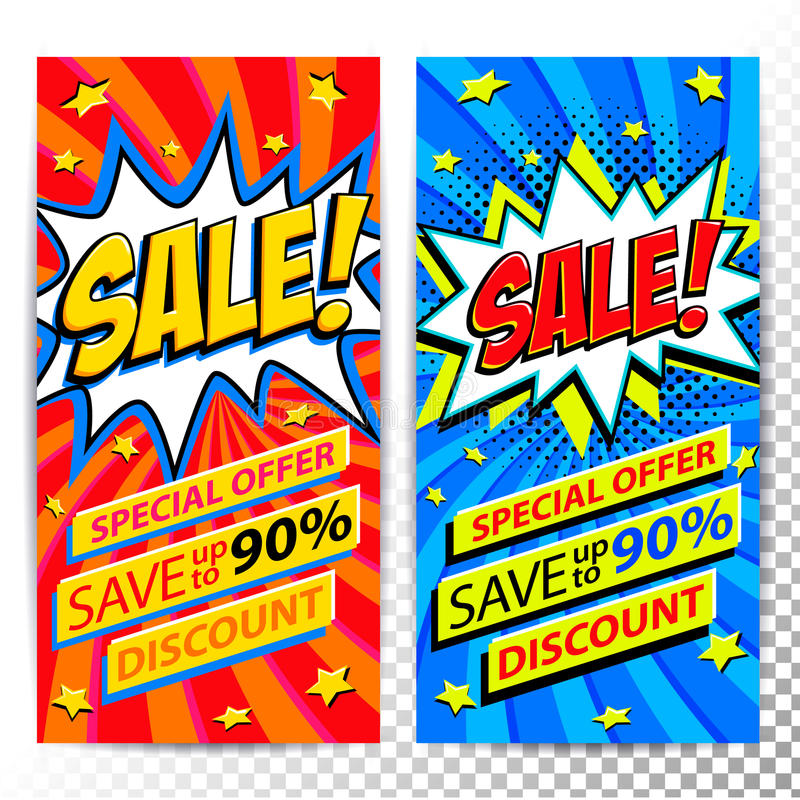 De banners van het verkoopweb Reeks banners van de de kortingsbevordering van de Pop-art grappige verkoop Grote verkoopachtergron vector illustratie