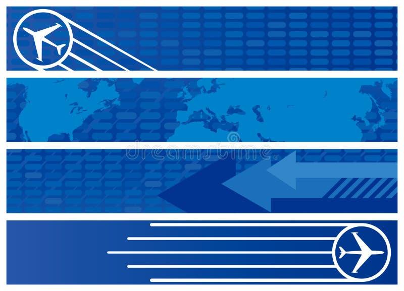 De Banners van het Web van de reis in Schaduwen van Blauw vector illustratie