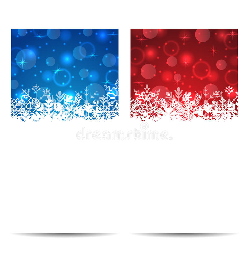 De banners van Kerstmissneeuwvlokken met lichteffect vector illustratie