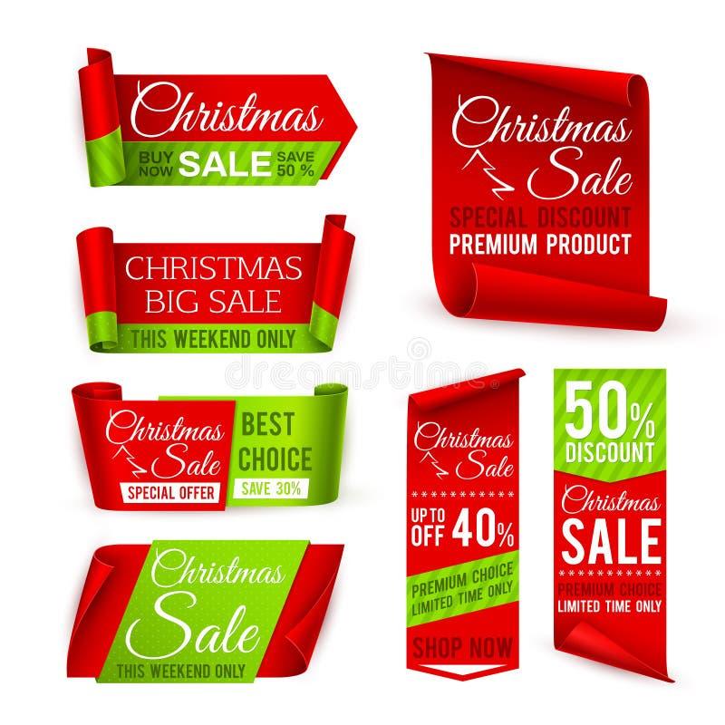 De banners van de Kerstmisverkoop Rode zijdelinten met van de Kerstmiskorting en winter de aanbiedingstekst van de Kerstmisvakant vector illustratie