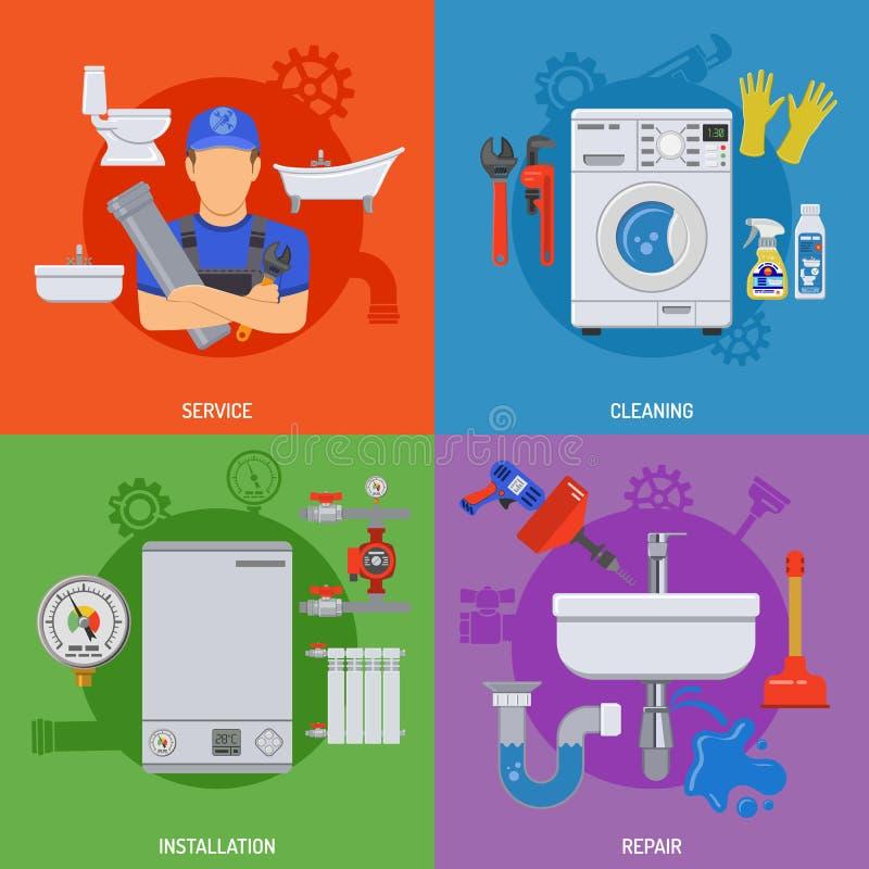 De Banners van de loodgieterswerkdienst vector illustratie