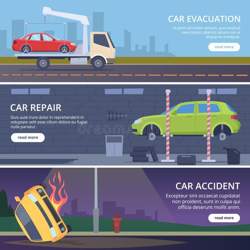 De banners van de ongevallenweg Het stedelijke landschap met beschadigde auto's verplettert de gebroken inzameling van vervoer ve stock illustratie
