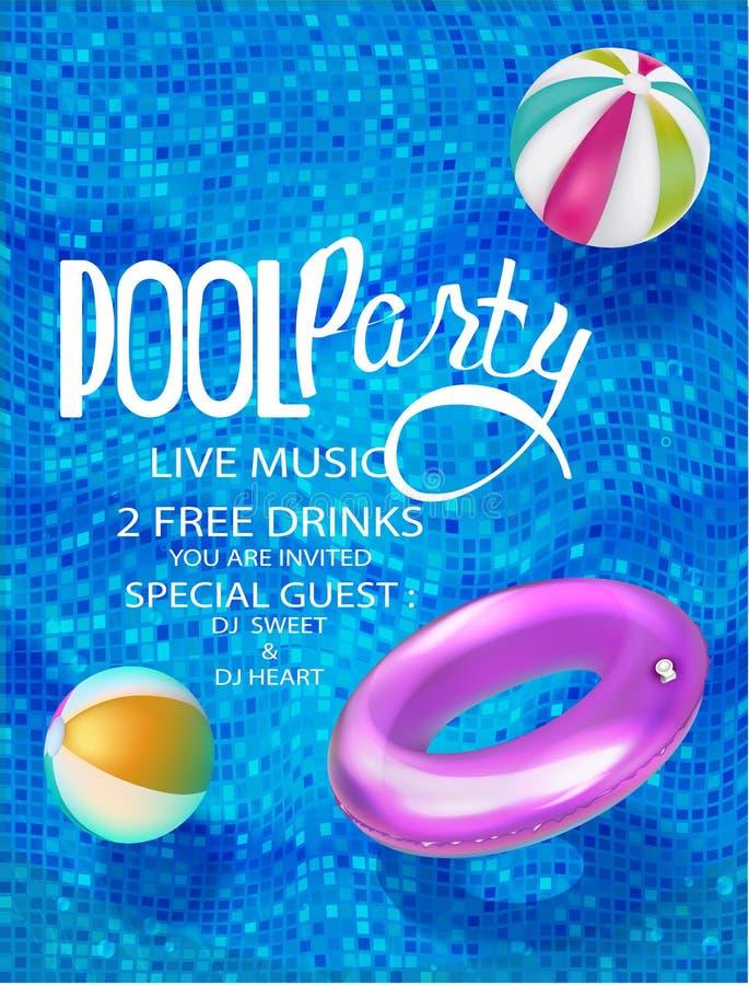 De banners van de poolpartij met opblaasbaar hierboven speelgoed in zwembadmening royalty-vrije illustratie
