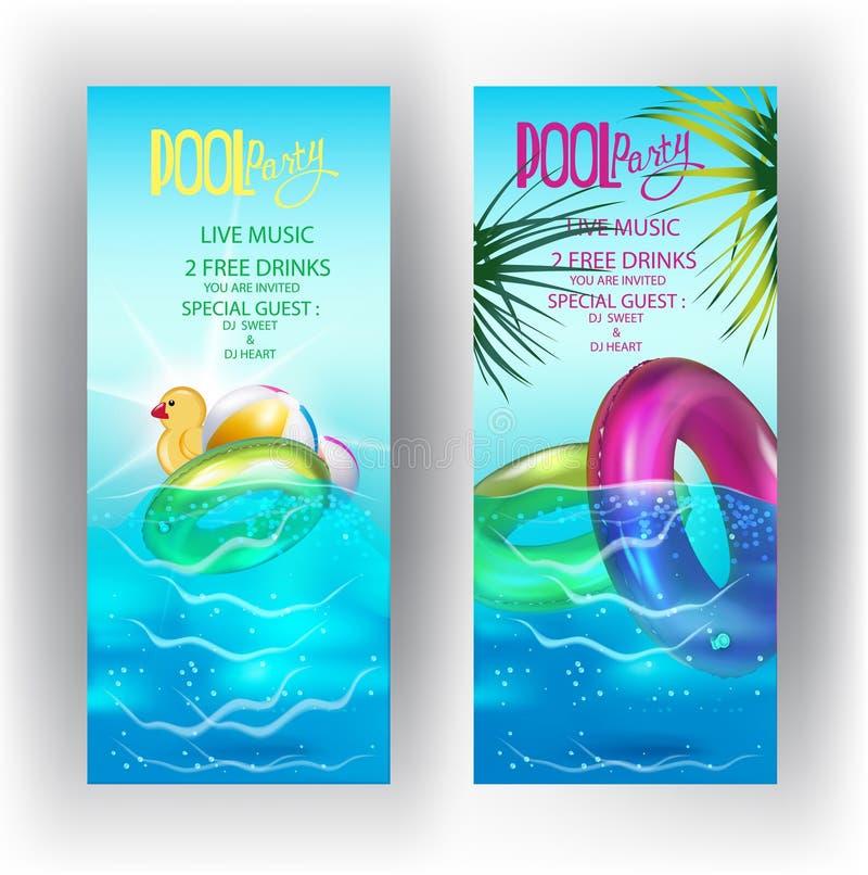 De banners van de poolpartij met opblaasbaar speelgoed in zwembadwater stock illustratie