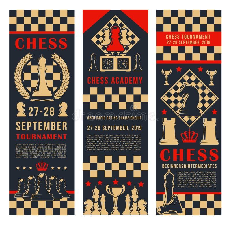 De banners van speltoernooien met schaakstukken stock illustratie