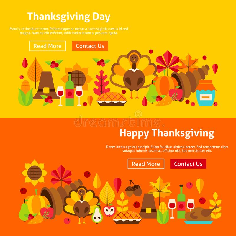 De Banners van de thanksgiving daywebsite vector illustratie